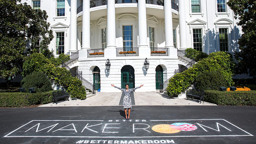 "First Lady Michelle Obama poses with chalk art for the public awareness campaign ""Better Make Room"" as part of her Reach Higher initiative, on the South Driveway of the White House, Oct. 19, 2015. (Official White House Photo by Amanda Lucidon)"
